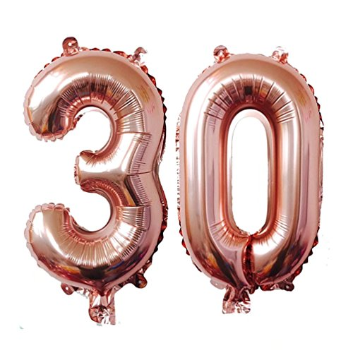 KEYYOOMY 40 inch Number 30 Mylar Balloons Rose Gold Dirty 30 Jumbo Foil Number Balloon for Thirty Birthday Party Anniversary Celebrate Parties Decoration (40 inch, Rose Gold Color)]()