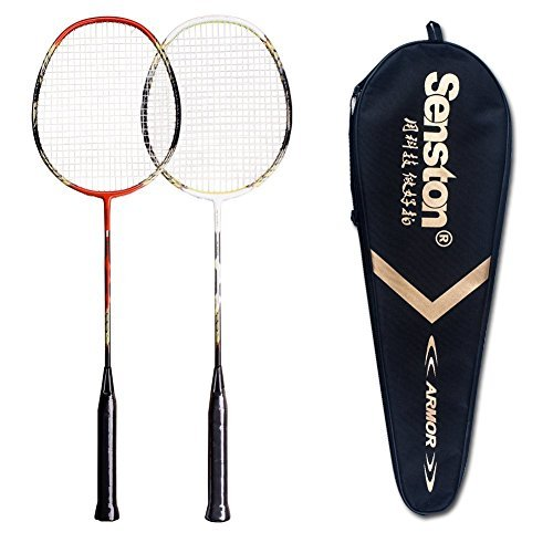 Senston - 2 Player Badminton Racquets Set Double Rackets Carbon Shaft Racquets Set- 1 Carrying Bag Included