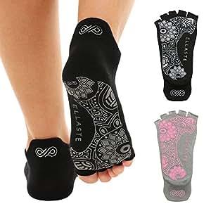 Ellaste Yoga Socks – Open Toe Non Slip Anti Skid Grip Sock for Yoga Pilates Barre – for Women Girl (Black, Small/Medium (Women 5-8.5 / Men 4-7.5))