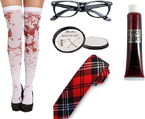 Halloween 5 pieza zombie niña escuela instante Kit sangre medias ...