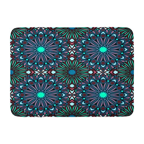 Oriental Stained Glass - Huayuanhurug Floral Ornament Mandala Oriental with Boho Stained Glass Welcome Doormat Bath Mat Rubber Non-Slip Entrance Rug Floor Door Mat Funny Home Decor Indoor Mat 16 x 24 Inches
