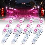 Xprite Pink Led Rock Light for Bed Truck, 24 LEDs Cargo Truck Pickup Bed, Off Road Under Car, Foot Wells, Rail Lights, Side Marker LED Rock Lighting Kit w/Switch - 8 PCs