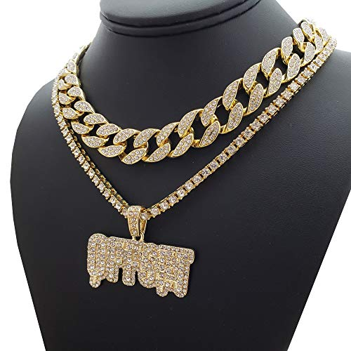 BLINGFACTORY Migos Iced Out Hip Hop Offset Pendant & 18