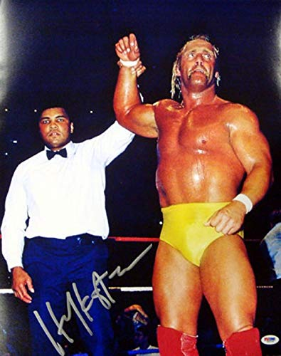 HULK HOGAN AUTOGRAPHED 16X20 PHOTO WWE WITH MUHAMMAD ALI PSA/DNA STOCK -