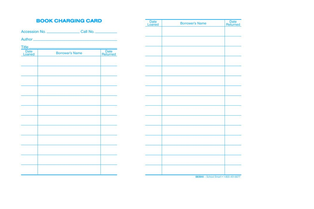 School Smart 1485891 Circulation Due/Returned Date Cards Record Book, 3'' x 5'', White (Pack of 500)