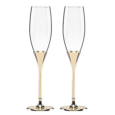 Kate Spade New York Simply Sparkling Gold Champagne Toasting Flute Pair, Crystal and Gold-Plated Metal