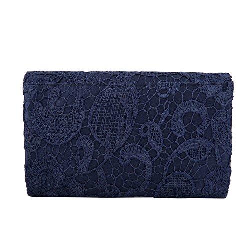 Floral Clutch Evening Prom Kisschic Elegant Navy Women's blue Envelope Lace Handbag Purse pOXqwE