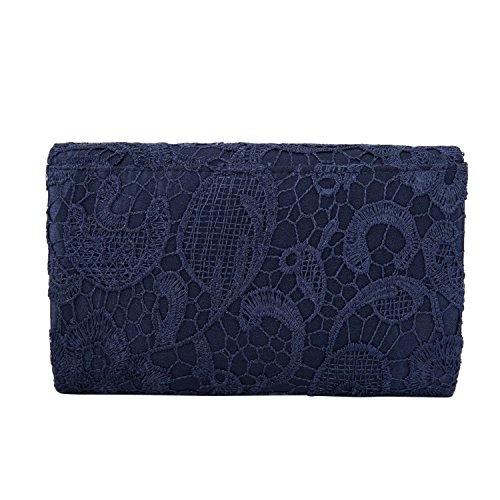 Prom Women's blue Evening Floral Navy Envelope Lace Elegant Clutch Kisschic Handbag Purse aAwTxda