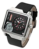 Top Plaza Men's Casual Multifunction Electronic LCD Digital Unique Square Case Sports Watch Luminous Waterproof Analog Quartz Watch,Double Movement,PU Leather Strap(Black)