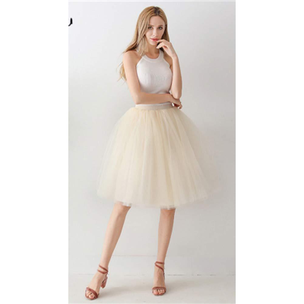 Champagne One Size DAHDXD Long Women Skirt Princess Tutu Tulle Skirts Fashion Ball Gown