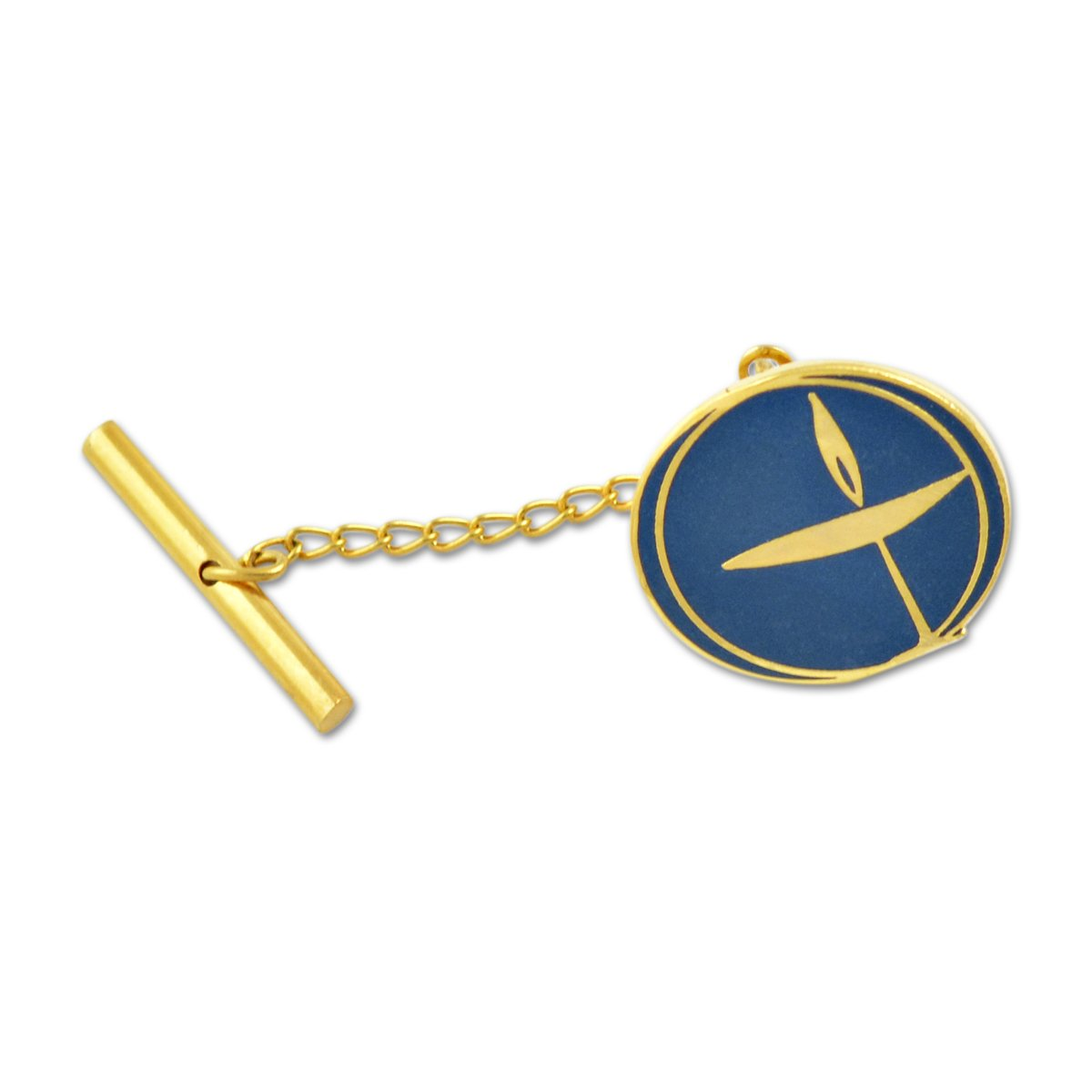 3//4 Diameter EvolveFISH Unitarian Universalist Blue Tie Tac