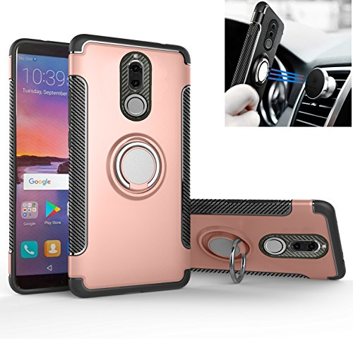 Mtl Rings - Mate 10 Lite/Nova 2i Case, Mingwei [with 360 ° Kickstand] Rotating Ring Case [Dual Shockproof] Protection Cover Compatible with [Magnetic Car Mount] for Huawei Mate 10 Lite (Rose Gold, Mate 10 Lite)