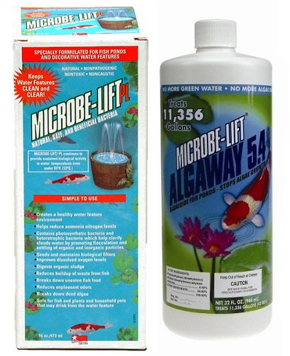 Microbe Lift PL 32oz + Microbe Lift Algaway 32oz Pond Water Treatment Kit Algaway 5.4 Control