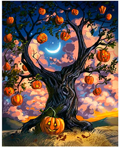 Mobicus DIY 5D Diamond Painting by Number Kit for Adult, Full Drill Diamond Embroidery Dotz Kit Home Wall Decor-Halloween