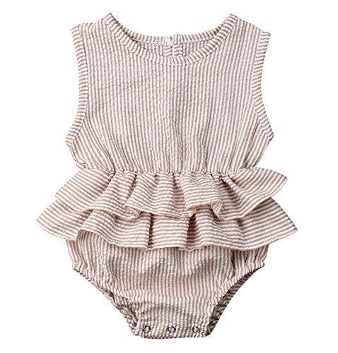 Bowanadacles Newborn Baby Girl Romper Jumpsuit Cotton Linen Sleeveless Ruffled Bodysuit Infant Summer Clothes Outfits ()