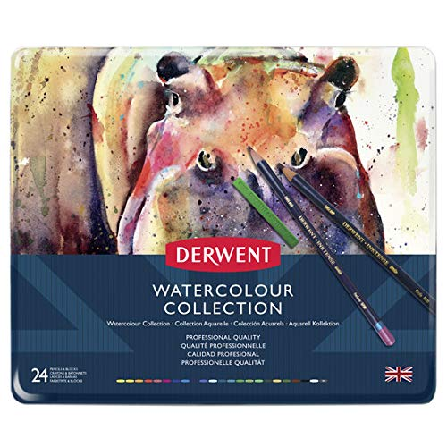 Derwent Colored Pencils, Watercolor, Water Color Pencils, Drawing, Art, Metal Tin, 24 Count (0700304) (Watercolor Collection Derwent)