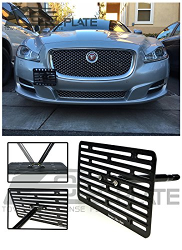 Extreme Online Store EOS Version 2 Full Sized Front Bumper Tow Hook License Plate Relocator Mount Bracket For 10-16 Jaguar XJ & XJR 2010 2011 2012 2013 2014 2015 2016 10 11 12 13 14 15 16 XJ-R R by Extreme Online Store