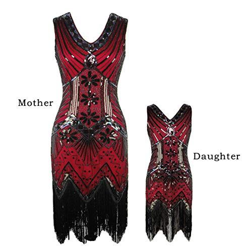 AMJM Parent-Child's 1920s Gastby Sequin Art Nouveau Embellished Fringed Flapper Dress (110, Wine Red) ()