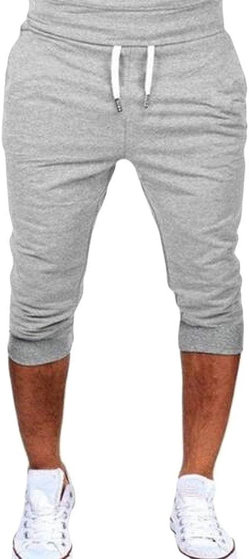 WAWAYA Mens Gym Workout Running Athletic Drawstring Casual Jogger Shorts Pants