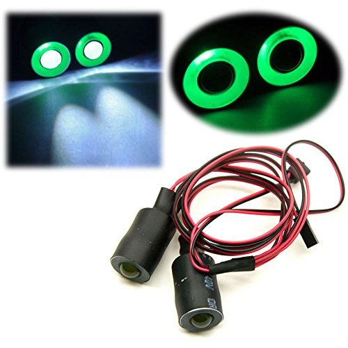 Jack-Store 2 Leds Angel Eyes LED Light Headlights/Taillight/Back Light 17MM Outer Diameter for 1/10 RC Crawler Car (Green+White) ()