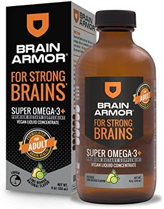 Brain Armor Adult – 2,292mg Super Omega-3 Liquid Concentrate (Lime-Mango, 4oz)