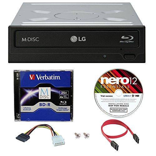 LG WH16NS40 16X Super Multi M-Disc Blu-ray BDXL DVD CD Internal Burner Writer Drive + FREE 1pk Mdisc BD + Nero Software + Cables & Mounting Screws (Blu Ray Burner)