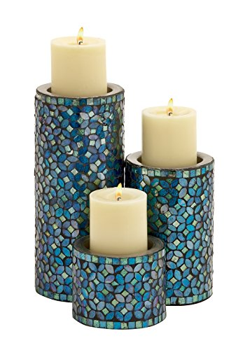 Deco 79 Metal Mosaic Candle Holder, 10 by 7 by 4-Inch, Set of 3 (Candle Sculpture)