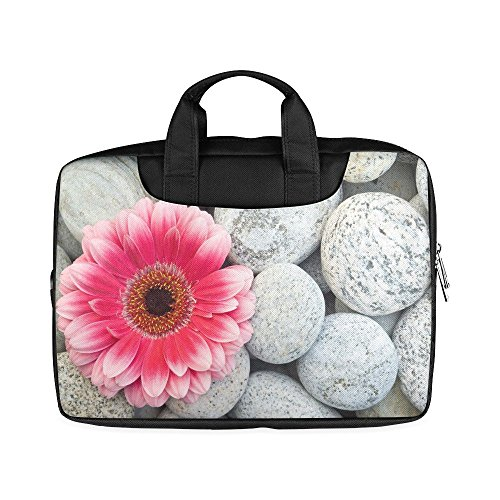 Laptop Notebook Pink Flower Daisy on the Stones Handle Sleeve Bag Case Cover for 15 inches MacBook Pro(Twin Sides Printing)