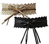 Norm Corer- Stylish Lace Belt- Soft PU Leather- Lace Cover With Tassels Sided- Adjustable Length- For Dresses | Shirts - 2 Belts(lace black & camel)