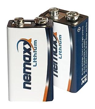 Nemaxx batería de bloque de 9 V de litio para detector de humo (10 años de vida útil 50 unidades blanco/azul: Amazon.es: Electrónica
