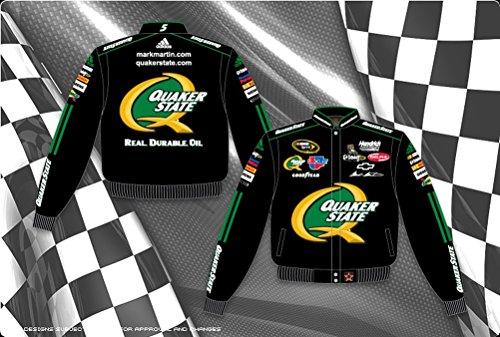 Quaker State Mens Black Nascar Twill Jacket by JH Design (S)