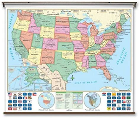 Amazoncom Essential Wall Map United States Options Rails - Bodies-of-water-us-map