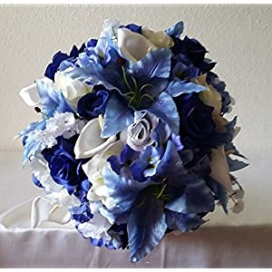 Royal Blue White Rose Tiger Lily Bridal Wedding Bouquet & Boutonniere 14