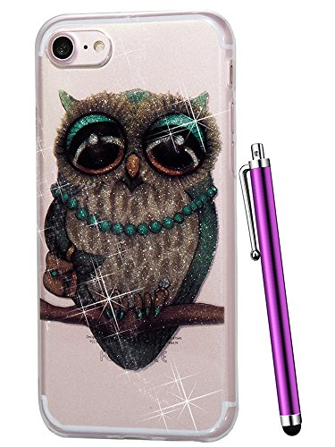- iPhone 6 Case,iPhone 6S Case,CAIYUNL Pattern Design Clear Cover Slim Phone Case Soft TPU Silicone Glitter Bling Bumper Protective Shockproof Cute iPhone 6S Phone case for iPhone 6S 6&Stylus-Owl