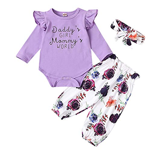 Newborn Baby Girl Mommys World Ruffle Romper Floral Pant Headband 3PC Outfit Set Purple