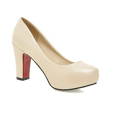 Odomolor Damen Ziehen auf Hoher Absatz PU Leder Rein Rund Zehe Pumps Schuhe