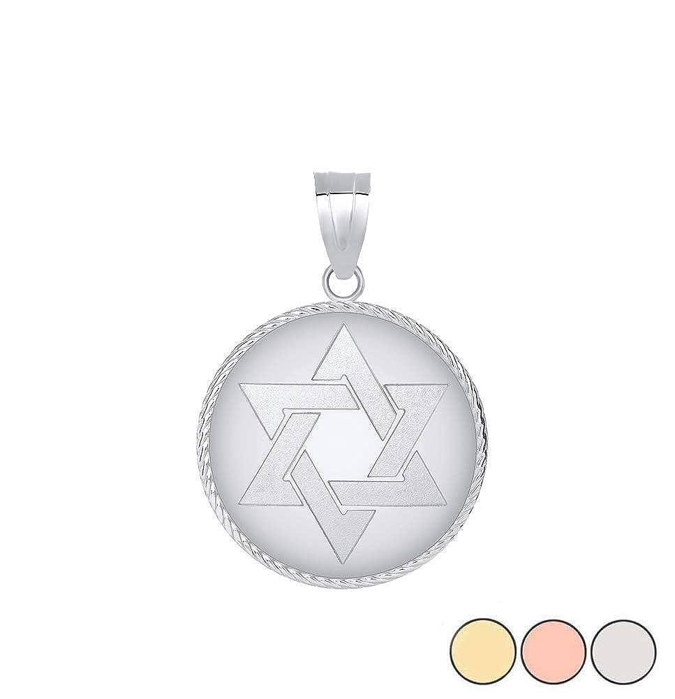 Jewish Jewelry Sterling Silver Jewish Star of David Medallion Pendant Necklace