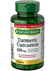 Nature's Bounty Turmeric Curcumin Pills and Herbal Health Supplement, Helps Relieve Joint Pain, Source of Antioxidants, 450mg, 120 Capsules