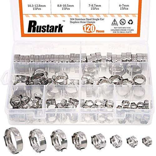 Rustark 120Pcs [6-23.5mm] 304 Stainless Steel Single Ear Stepless Hose Clamp Clips Assortment Kit for Various Hoses and Automotive Use