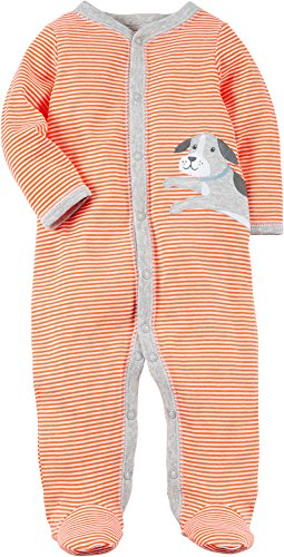 Carter's Baby Boys' 0-9 Months Striped Snap up Dog Sleep and Play 3 Months