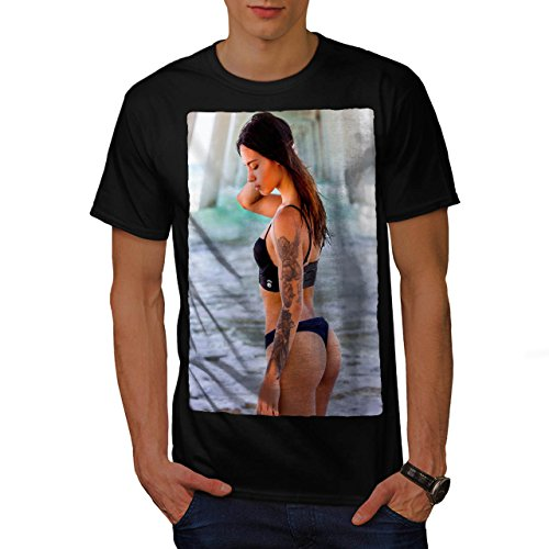 Lady In Swimsuit Tattoo Girl Men M T Shirt   Wellcoda