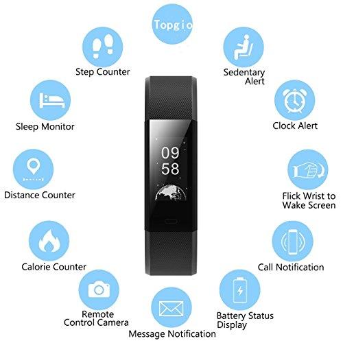 Pulsera de fitness, Smartwatch portátil y Smart, brazalete rastreador con Bluetooth 4.0 Paso Contador, Sleep Monitoreo, Seguimiento de Actividad, ...