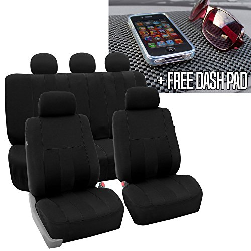Spider Dash Alfa Cover Romeo - FH Group FH-FB036115 Striking Striped Seat Covers, Solid Black FH1002 Non-Slip Dash Grip Black Pad Mat - Fit Most Car, Truck, SUV, or Van
