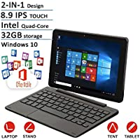 2016 Nextbook Flagship Black Edition Flexx 8.9 Touchscreen 2 IN 1 Tablet Laptop With Keyboard Free Office Moblie (Intel Quad-Core Z3735F Processor, 1G RAM, 32G Storage, IPS Display, Windows 10)