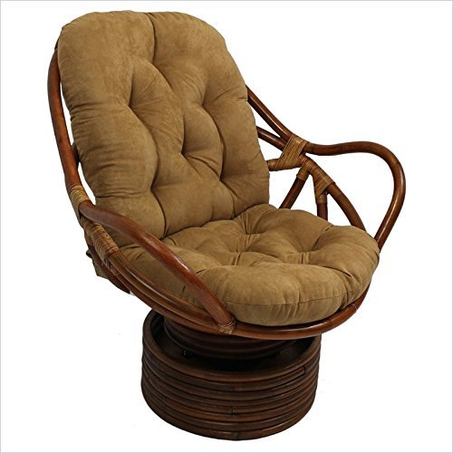 Micro Suede Rocker - International Caravan 3310-MS-CM-IC Furniture Piece Rattan Swivel Rocker Micro Suede Cushion