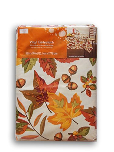 Fall Thanksgiving Flannel Backed Vinyl Tablecloth - Autumn Leaves (52'' x - Leaves Autumn Tablecloth
