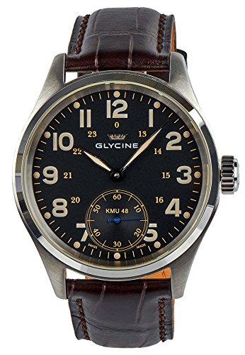 Glycine KMU 48 Kriegs Marine Uhren Manual Wind Stainless Steel Mens Watch 3906.19AT LB33