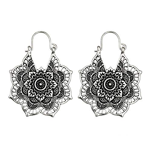 Mysky Antique Silver Gypsy Indian Tribal Ethnic Hoop Dangle Mandala Earrings Boho