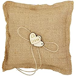 FENICAL Burlap Wedding Ring Pillow Bridal Ring Bearer Pillow Cushion with Wood Double Heart 18x18cm