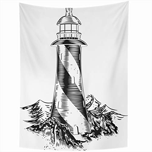 Ahawoso Tapestry Wall Hanging 60x80 Inches House Sketch Lighthouse Vintage Lithograph Rough Waves White Water Wood Woodblock Black Sea Design Home Decor Tapestries Art for Living Room Bedroom ()